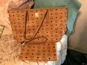 Beautiful Brown MCM Tote with Matching Pouch/Wristlet