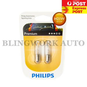 2pc Philips H21W BAY9S OEM Factory Standard Replacement Light Bulb Globe 21W 12V