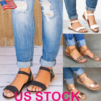 Fashion Women Leopard Print Buckle Ankle Strap Sandals Ladies Casual Flats Shoes
