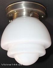 Bauhaus Plafonnier Design Lampe Gispen conception 1920 en Opal Verre argentée Support