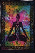 Seven Chakra Yoga Buddha Multi-Color Cotton Hippie Small Tapestry Poster Art