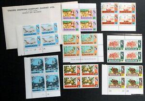 BAHAMAS 1971 # 313 315 317 322 325 399 400 & 421 MINT NH Blocks CV$32