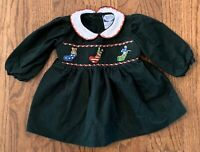 Carriage Boutiques Baby Girl Smocked Embroidered Dress Christmas Stockings Sz 3m