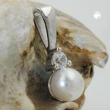 da donna Rimorchio foglio con perla conchiglia nucleo PERLA ZIRCONI BIANCHI 925 argento