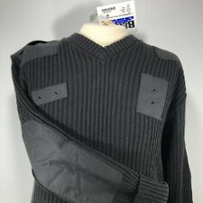 Blauer Mens Commando Military Sweater Size Large Black Ribbed Patched Elbows NWT