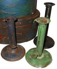 AAFA BLUE 1800s Hog Scrapper Candlestick Folk Art Primitive hogscrapper