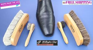 Large Shoe Brush Kit Shine Brush Shoe Polish Applicator 100% Horsehair Brush