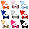 Men's Satin Pre-tied Bowtie Hanky Handkerchief Pocket Square Cufflinks Set