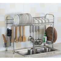 Over Sink Dish Drying Rack Drainer Shelf Storage Draining Plate Bowl Organizer