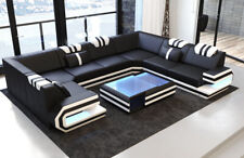 Leder Wohnlandschaft Eckcouch Designersofa RAGUSA U Form Sofa Ottomane Couch LED