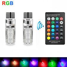 UK 2xT10 6SMD 5050 RGB LED Car Wedge Side Light Reading Lamp Bulb+Remote Control