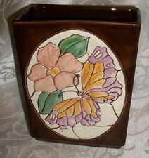 Vintage Brown Pottery Floral Vase Signed by Gail