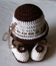 Crochet 0-3 Months White and Chocolate Hat and Booties Set Photo Prop Mary Joe