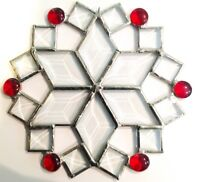 """7"""" Stained Glass Red Beveled Snowflake Suncatcher - Made in the USA CCI"""
