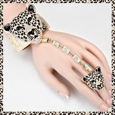 Gold Animal Hand Chain Ring Tiger Cat Crystal Bracelet Rhinestone Slave Metal