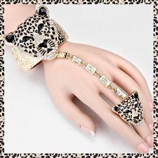 Gold Animal Hand Chain Ring Tiger Cat Crystal Bracelet Rhinestone Slave Metal