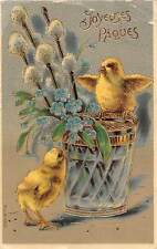 Joyeuses Paques forget-me-not, mistletoe, chicken babies, pot vase 1909