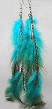 F1171 fashion long Feather circle chain dangle chandelier earrings jewelry