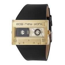 "EOS New York ""Mixtape Gold"" Orologio Quarzo Acciaio Inox Oro Pelle Nero Unisex"