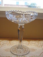 """Clear Crystal Cut Glass Footed Candy Bowl Dish, 8 1/2"""" T & 6 1/2"""" Diameter"""