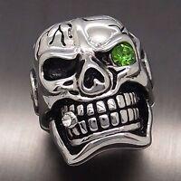 MENS Huge Silver Skull Green Eye Cigar CZ 316L Stainless Steel Biker Ring