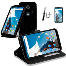 BLACK Wallet 4in1 Accessory Bundle Kit Case Cover For Google Nexus 6