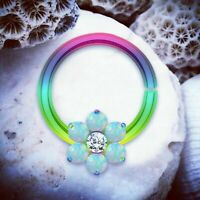 PIXIE Opal Flower Cartilage Ring Rainbow Septum Ring Flower Helix Earring Tragus