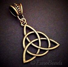 CELTIC KNOT_Bronze Pendant for Thick Chain or Euro Necklace_Triquetra Irish_E65