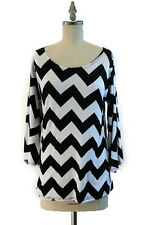 Women's Chevron Peasant Sleeve Shirt Black White Medium M NEW