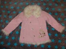 Steppjacke / Mantel, Cord,Gr. 104, H&M, rosa mit abnehmbaren Kunstfell