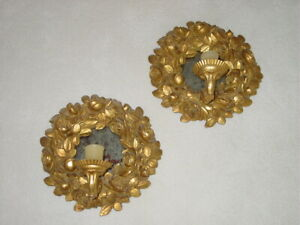 Vintage Pair Gold Wall Sconces Votive Candle Holders 1 Arm Bombay Co. Roses