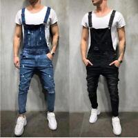 Mens Dungarees Suspenders Jeans Trousers Overalls Slim Fit Denim Pants Jumpsuits
