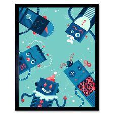 Robot Family Art Print Framed Poster Wall Decor 12X16 Inch