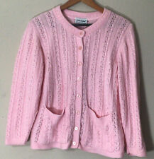 Vintage style Pink Pinup Cable Knit Cardigan M/L Button Down Sweater pockets