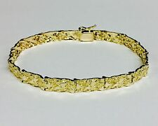 10kt Solid Yellow Gold Mens Nugget Bracelet 6.5 mm 14 grams 8""