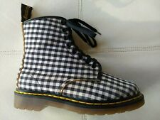 DR MARTENS BLACK & WHITE GINGHAM CHECKERED BOOT MADE IN ENGLAND RARE VINTAGE 6UK