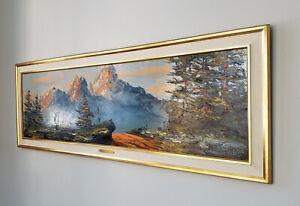 "1963 Huge 67"" x 24"" MORRIS KATZ Mountain Panoramic Landscape Painting-EX!"