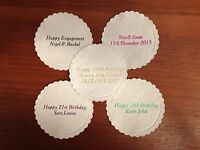 100 x PERSONALISED PAPER COASTERS WEDDING ANNIVERSARY BIRTHDAY PARTY