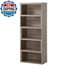 Wooden Storage Shelf Expandable Bookshelf Contemporary Display Stand Organizer