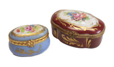 2pc Assorted French Porcelain Trinket Boxes, Sevres, Hand painted floral designs