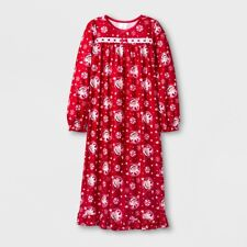 Girls' Christmas Elf on the Shelf Peppermint Red Long-Sleeve Nightgown, Size 4