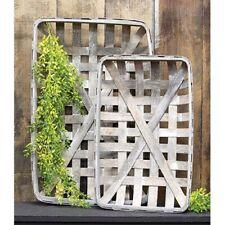 Set of 2 Farmhouse Gray Rectangle Tobacco Baskets