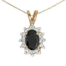 """10k Yellow Gold Oval Onyx And Diamond Pendant with 16"""" Chain"""