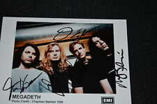 Megadeth signed autógrafo 13x18 cm en persona completa banda Dave Mustaine rar!!!