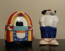 VINTAGE COOL DOG and JUKEBOX SALT and PEPPER SHAKERS - NICE CONDITION