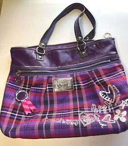 COACH Poppy Tartan Glam Tote Bag Purple – Berry Plaid  Pristine used condition