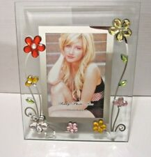 """3x5"""" Glass Floral Table Top Photo Frame . Purple Green Flowers"""