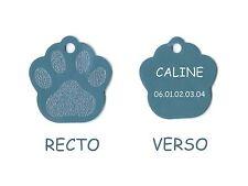 medaille gravee chien ou chat - modele petite patte de chat calinette - bleu alu