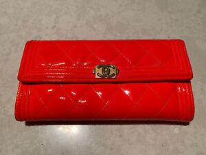 Chanel Boy Long Flap Wallet Coral