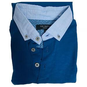 Ted Baker Men Small Size 3 Dark Blue gray Modal Polo Causal Cotton Pocket Shirt